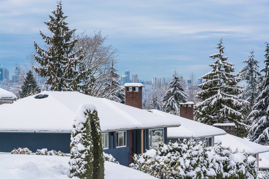 Street of residential houses in suburban of Vancouver on winter cloudy day