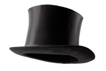 Stylish attire, vintage men fashion and magic show conceptual idea with 3/4 angle on victorian black top hat with clipping path cutout in ghost mannequin technique isolated on white background