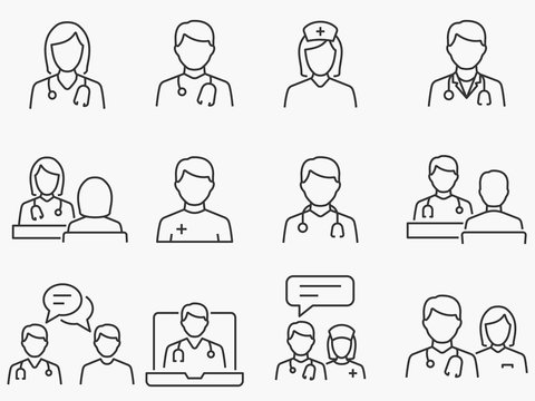 Doctor and Nurse line icons set. Black vector illustration. Editable stroke.