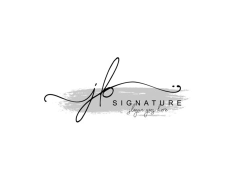 Initial JB beauty monogram and elegant logo design, handwriting logo of initial signature, wedding, fashion, floral and botanical with creative template