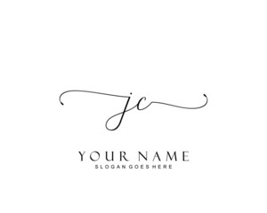 Initial JC beauty monogram and elegant logo design, handwriting logo of initial signature, wedding, fashion, floral and botanical with creative template