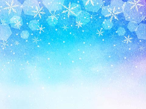 雪の結晶 星空 背景 水彩イラスト