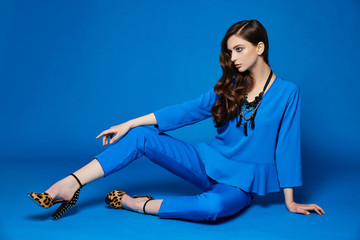 High fashion portrait of young elegant woman. Blue blouse, blue pants, curly hair, leopard shoes. .