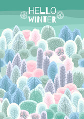 Illustration with winter forest. Vector template for card, poster, flyer, cover and other use.