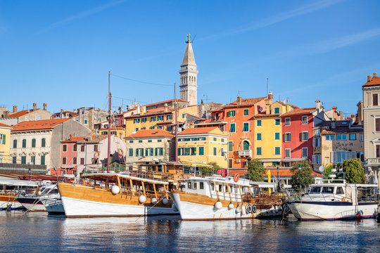 Rovinj old town with harbour, Istria, Croatia