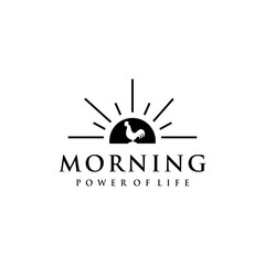 Illustration of a dashing rooster crowing in the morning before sunrise.