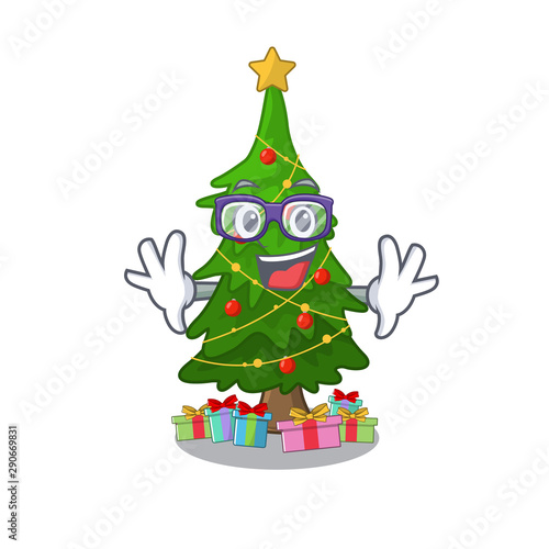 Geek Christmas.Geek Christmas Tree Isolated With The Mascot Stock Image