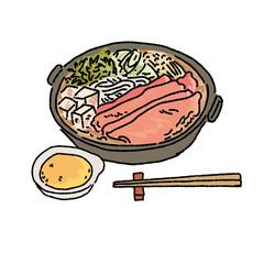 すきやき 和食 イラスト 手描き