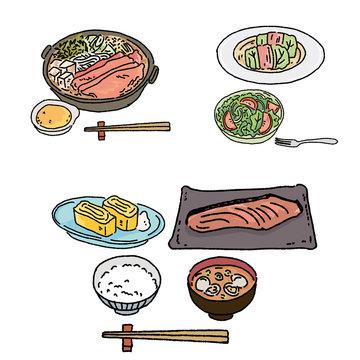 食事 すきやき ロールキャベツ 和食 イラスト 手描き セット