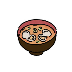 あさりのみそ汁 和食 イラスト 手描き