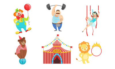 Circus Performers Characters Set, Strongman, Air Gymnast, Clown, Circus Lion and Bear Vector Illustration