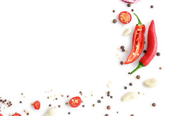 Canvas Prints Hot chili peppers Different spices on white background