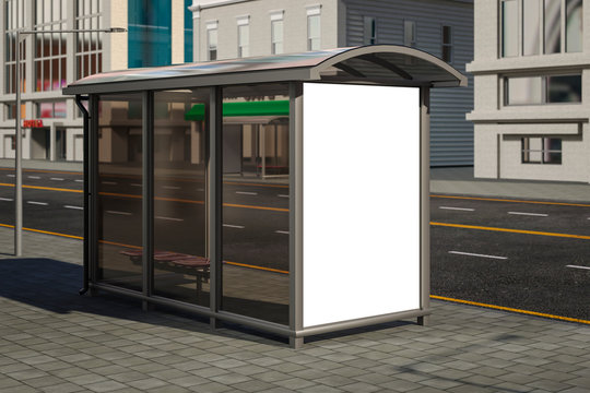 3D illustration of an empty Billboard at a bus stop on a city street.