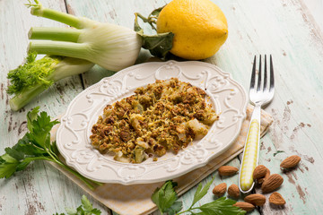 fennel crumble with almond and lemon