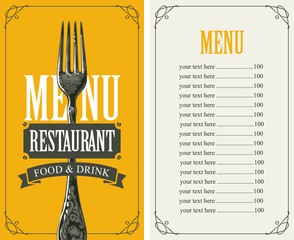 Vector template menu for restaurant with price list and realistic fork in figured frame with curls on yellow background in retro style
