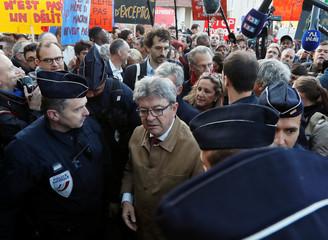 Jean-Luc Melenchon, leader of France Insoumise arrives for his trial at the courthouse in Bobigny