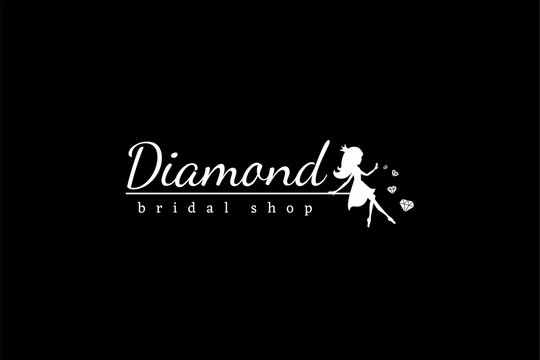 White logotype Diamond with sitting fairy princess silhouette and crystals on black background. Vector illustration for logo bridal shop, kids fashion, invitation, decor.