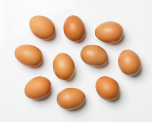 yellow hen eggs solated on white background