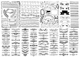mega set of hand drawing doodle sketch design element
