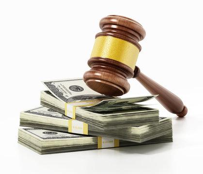 Judge gavel on stacks of dollars. 3D illustration