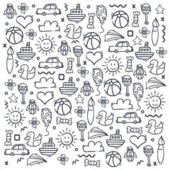 Set od Hand draw Kids doodle backgrounds. Objects from a child's life.