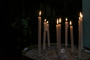 Long wax candle used in religious worship