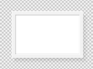 Realistic rectangle picture frame isolated on transparent background. Blank white picture frame mockup template. Photo frame pattern. Modern advertise mockup. Vector illustration