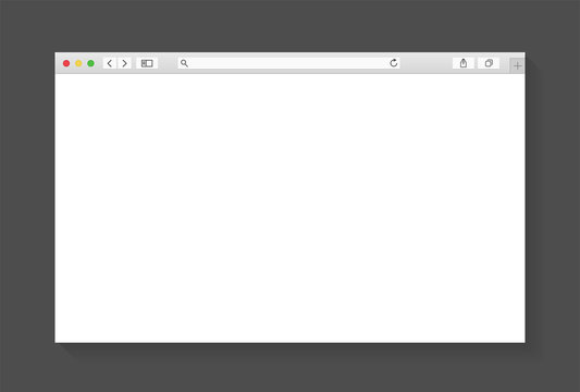 Modern browser window design isolated on dark grey background. Web window screen mockup. Internet empty page concept with shadow. Vector illustration