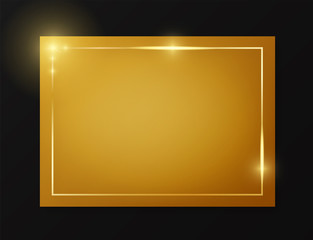 Gold shiny glowing vintage frame on plate isolated on black background. Golden luxury realistic border. Wedding, mothers or Valentines day concept. Xmas and New Year paper abstract. Vector