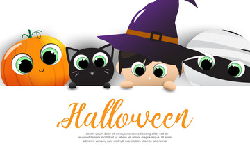 Halloween sale banners or party invitation background. Vector illustration of Halloween cute cartoon caracters for greeting card.