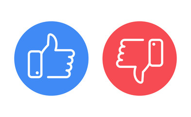 Like and dislike icons set. Thumbs up and thumbs down. Vector illustration.