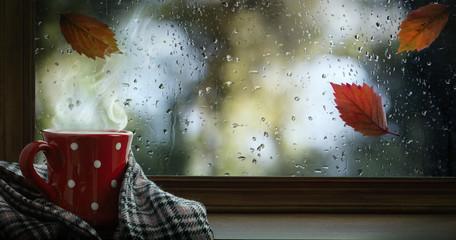 Autumn season background, red cup with hot drink and wet autumnal window
