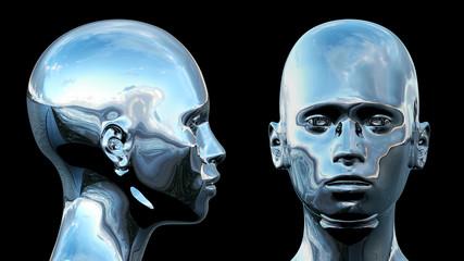 Silver Chrome Cyborg Head 3D Render