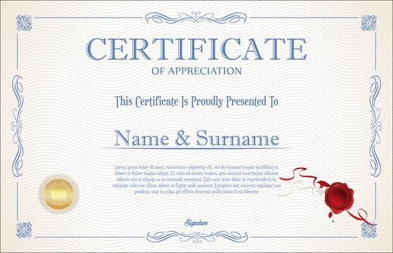 Certificate retro vintage template background