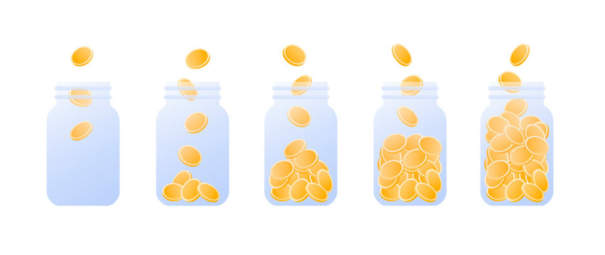 Vector coin money in jar flat illustration. Set of glass full of coin isolated on white background. Design element for banner, poster, website, bank, game. Concept of safe money investment, pension.