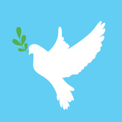 Peace dove with green branch. Vector illustration.