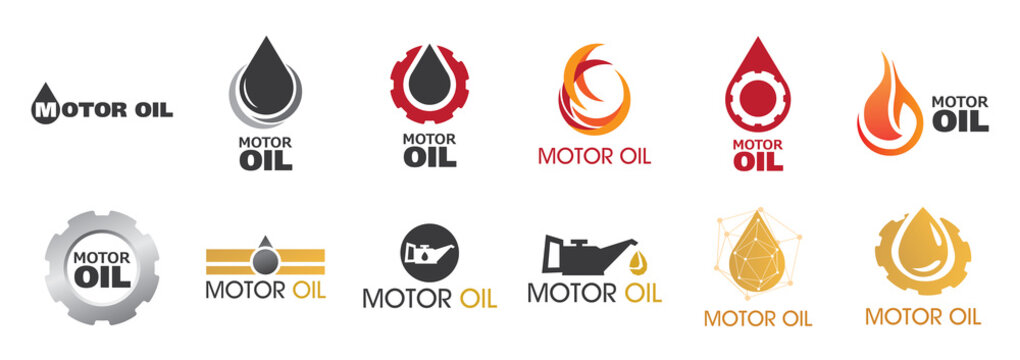 Vector logo, illustration of engine oil and fuel