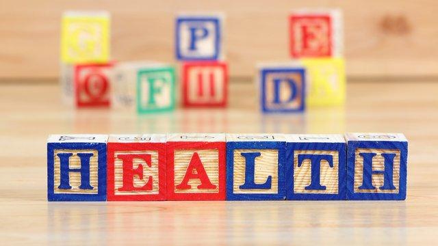 Health toy blocks word