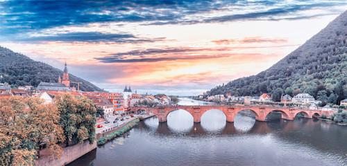 Heidelberg skyline aerial view from drone, Chain Bridge and city skyline