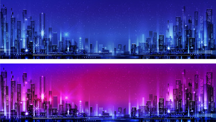 Vector night city illustration with neon glow and vivid colors Fotomurales