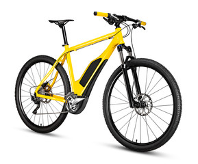 fantasy fictitious design of  yellow ebike pedelec with battery powered motor bicycle moutainbike....