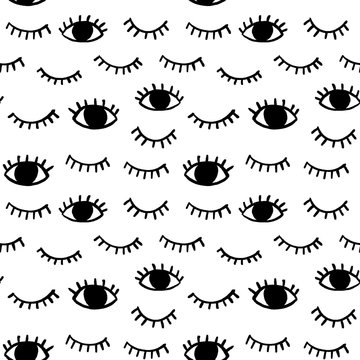 Vector pattern with hand drawn eyes doodles. Trendy seamless background with opened and winking or closed eyes.