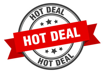 hot deal label. hot deal red band sign. hot deal