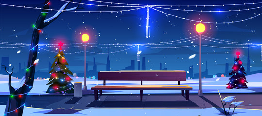 Christmas in night city park, empty public garden with decorated fir-trees, bench and lighting garlands. Winter cityview landscape, Urban place for walking and recreation Cartoon vector illustration Fotomurales