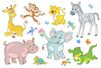 Set of african cute animal babies - giraffe, zebra, crocodile, lion, elephant, hippo, monkey, turtle and frog. In cartoon style. Isolated on a white background.