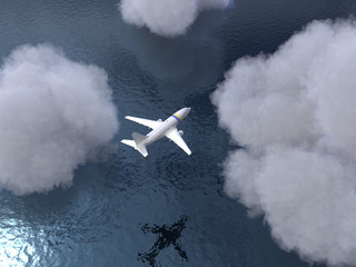 airplane flies over the water
