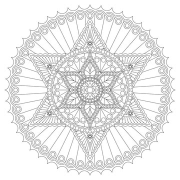 Coloring page with mandala with six-pointed star. Vector drawing.