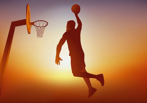 Concept d'une action de jeu dans un match de basket-ball, avec un joueur qui marque un panier en sautant pour faire un dunk.