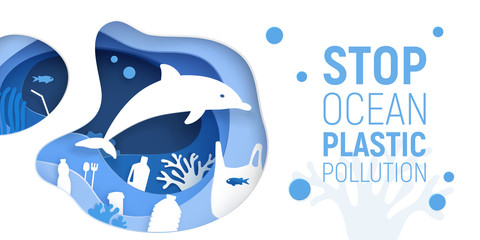 Ocean Plastic Pollution. Paper cut underwater background with plastic rubbish, dolphin and coral reefs. Save the ocean concept. Eco problem poster. Paper art vector illustration