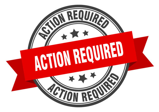 action required label. action required red band sign. action required